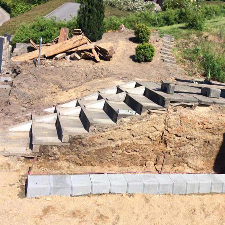 Anlægsarbejde af ny trappe