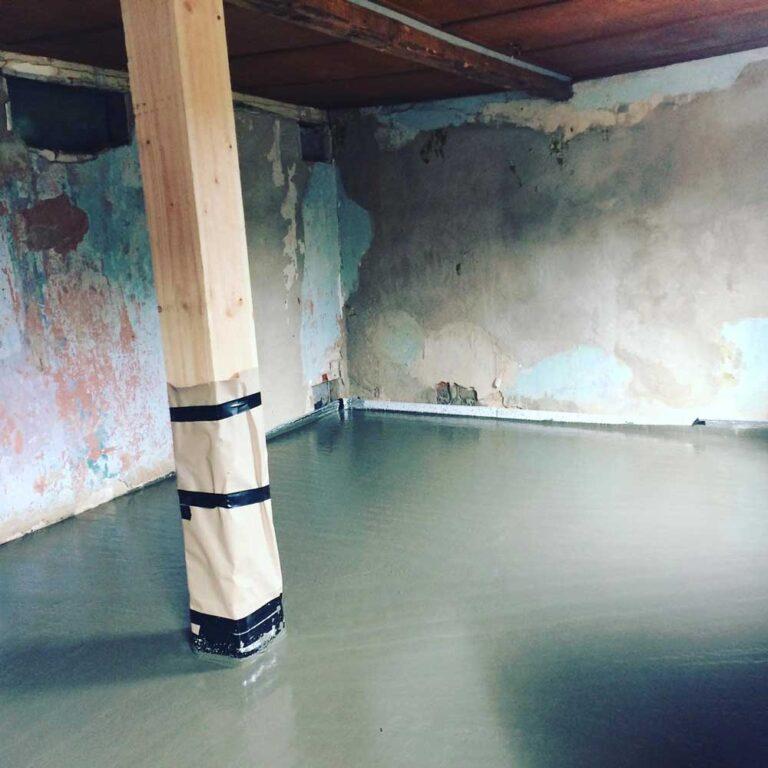 Støbning af nyt gulv
